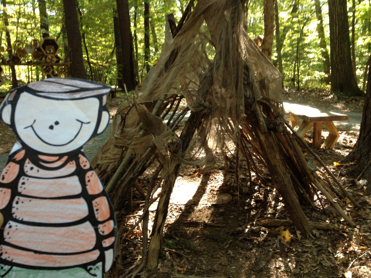 a fort or a teepee built with branches, in the play area at the ...